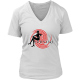 Ladylike V-Neck Womens T-shirt-Black and Red