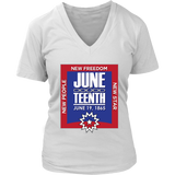 Juneteenth Womens V-Neck T-shirt