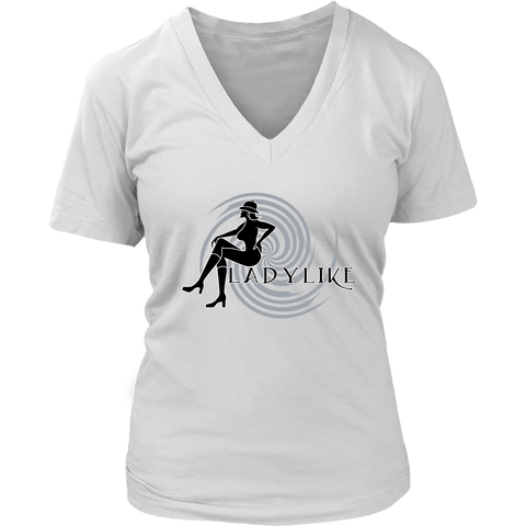Ladylike Womens V-neck T-shirt-Black and Grey