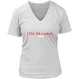 The Blackfokapparel Definition Red Logo White Women's V-Neck T-Shirt