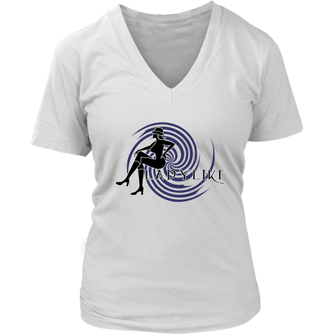 Ladylike V-Neck Womens T-shirt-Black and Navy