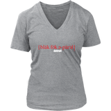 The Blackfokapparel Definition Red Logo Grey Women's V-Neck T-Shirt
