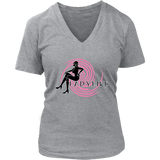 Ladylike V-Neck Womens T-shirt-Black and Pink