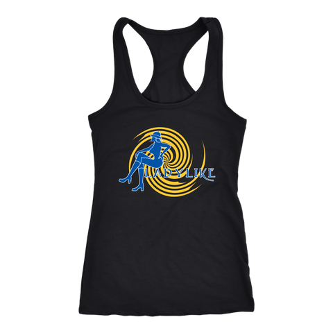 Ladylike Women's Racerback Tanktop Royal Blue and Gold
