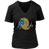 Ladylike Women's V-neck T-shirt – Royal Blue and Gold