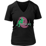Ladylike Women's V-Neck T-shirt-Pink and Green