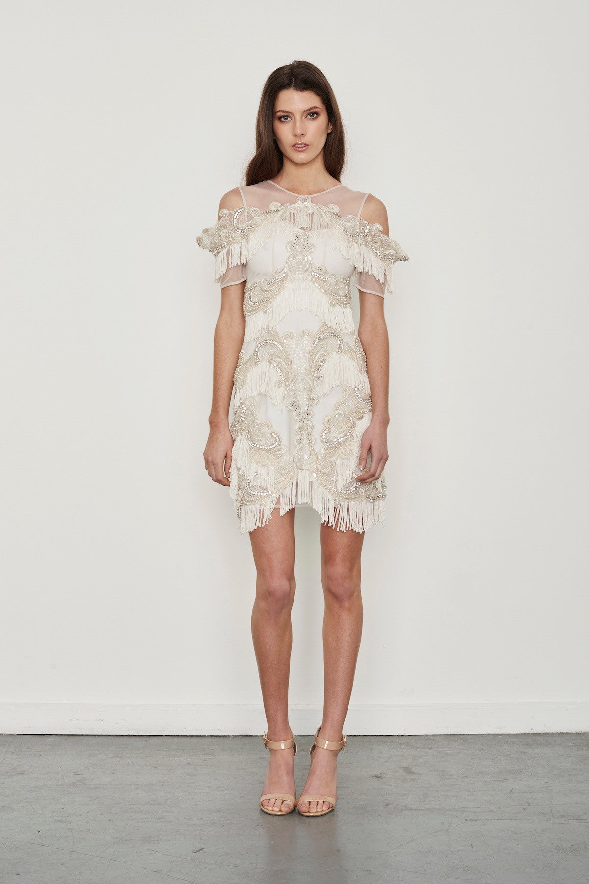 8116a4c55322 Hire the Thurley Almost Famous White fully beaded mini dress with fringe  tassels along the hem