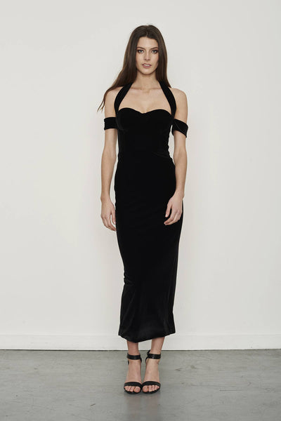 Misha Collection Velvet Look black midi dress with bustier halter neckline.