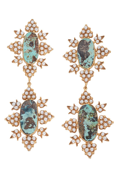 Christie Nicolaides Cleon earrings in Gold and Turquoise Hire.
