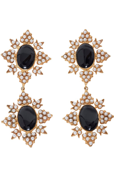 Christie Nicolaides Cleon Earrings in Gold and Black- Hire.