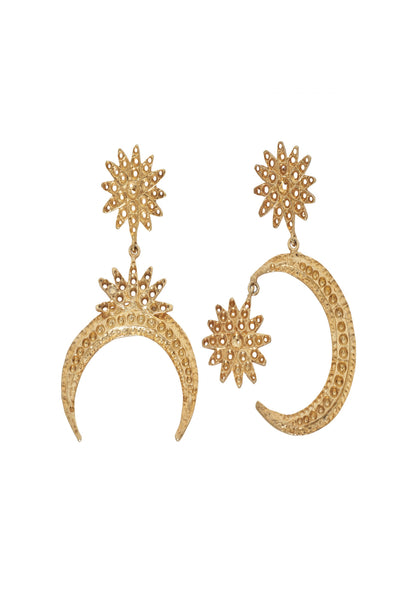 Handcrafted sun and moon details gold earrings by Australian designer Christie Nicolaides.