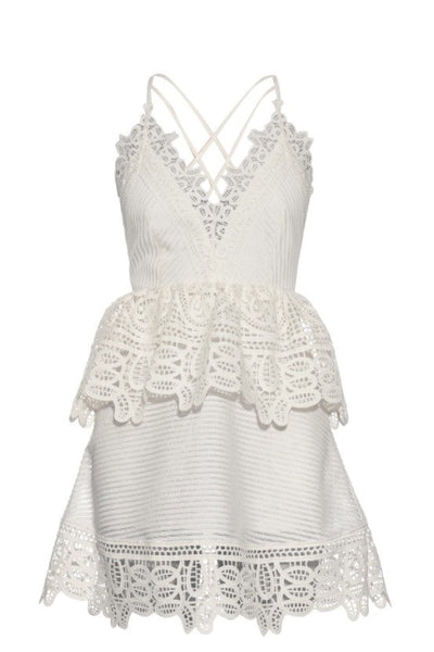 Lace Trimmed Peplum Dress