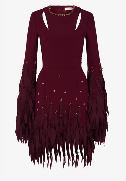 Delicate Sparkle Silk Fringe Mini Dress