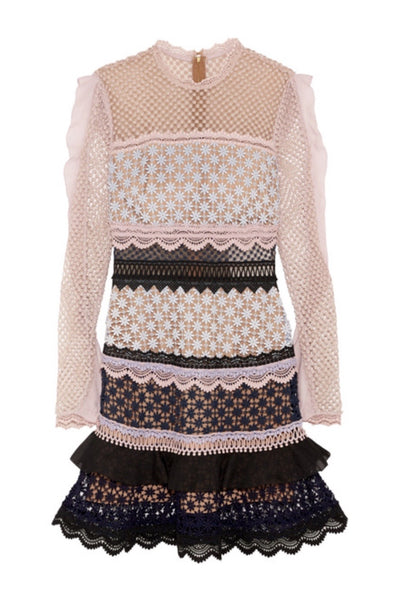 Mauve, pink and black intricately detailed panel mini dress.