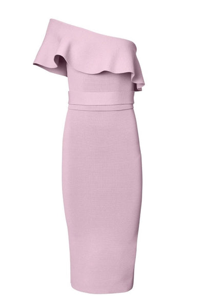 Crepe Knit Ruffle dress in light pink, one shoulder details with self tie belt.