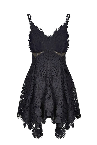 front view black floral lace dress for hire by Thurley