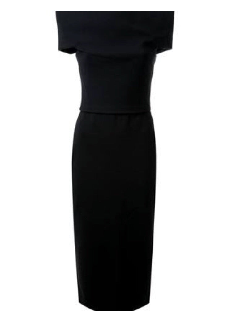Product view of Scanlan and Theordore crepe knit Milano dress for hire in black.