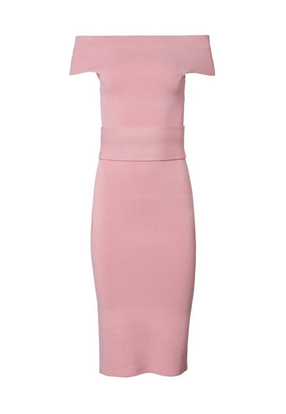 Product shot with white background of Scanlan Theodore Crepe Knit Milano dress in Pink.