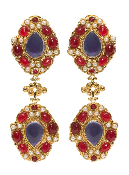 product shot of christie nicolaides carlotta earrings featuring hammered brass and gold, red & pearl stones