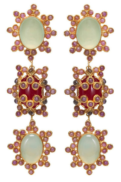 Christie Nicolaides Hammered Brass Aemilia Earrings with red and green gemstones.
