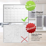 "Monthly Magnetic Calendar for Refrigerator | Dry Erase White Board For Kitchen Fridge With Strong Magnet | 17""X12"" 