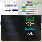 "Magnetic Calendar & Chore Chart for Refrigerator - Dry Erase Black Board for Kitchen Fridge - Bright Chalk Markers - 17X12"" Monthly Organizer"