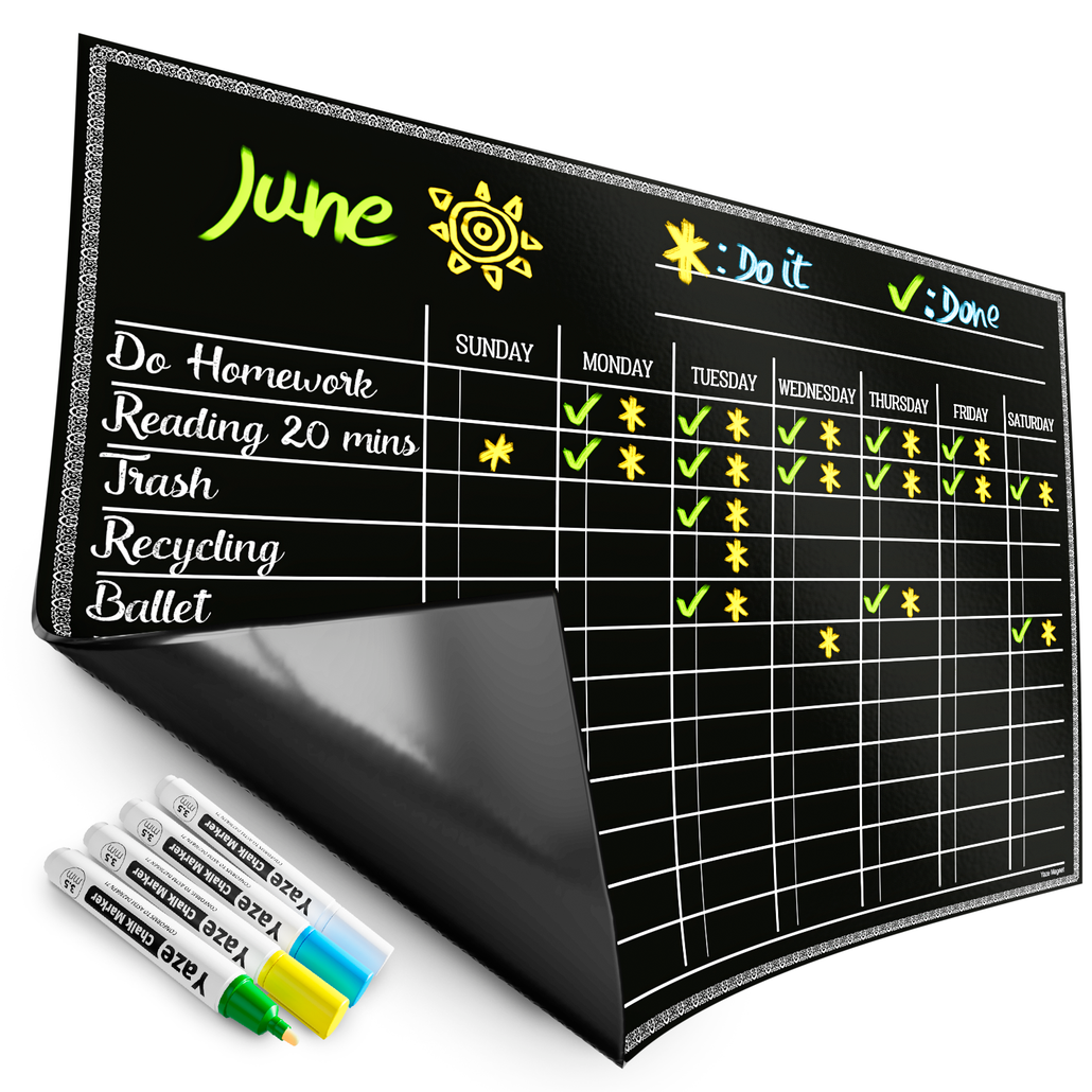 Magnetic Chore Chart for Kids - 4 Chalk Markers - Children's Dry Erase Chalkboard Calendar for Multiple Household Chores & Responsibilities