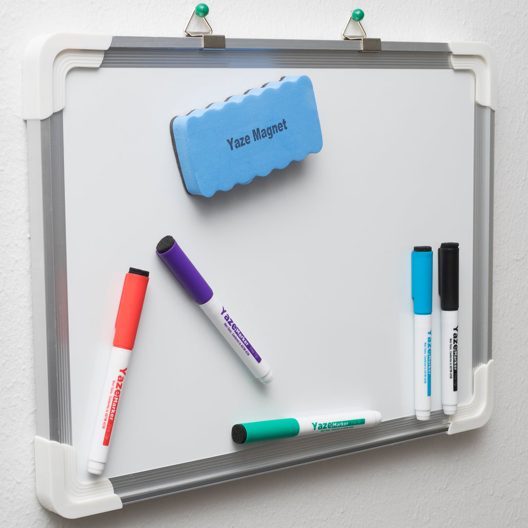 Dry Erase White Board | Hanging Writing, Drawing & Planning Small Whiteboard for Cubicle | 5 Magnetic Dry Erase Markers & Eraser