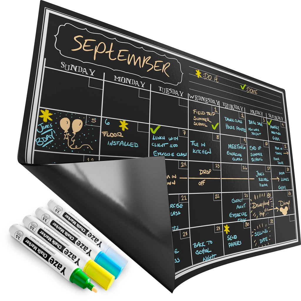 "Magnetic Calendar for Refrigerator - Dry Erase Black Board for Kitchen Fridge - Bright Neon Chalk Markers - 17X12"" Monthly Blackboard Organizer"