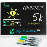 "Magnetic Dry Erase Blackboard Sheet with Chalkboard Design for Kitchen Fridge - 4 Chalk Markers - 17X12"" - Refrigerator Black Board Organizer"