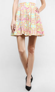 KALEIDODAZZLED BOX PLEAT MINI SKIRT
