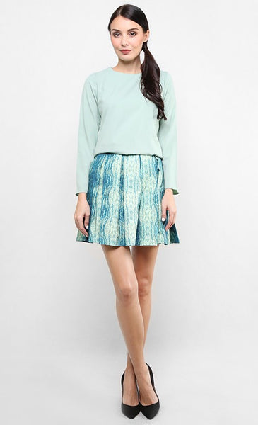ENCHANTED OCEAN BOX PLEAT MINI SKIRT