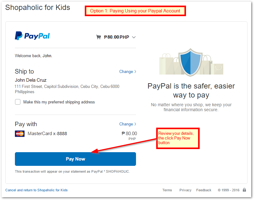 How to pay via Paypal or Credit Card   Shopaholic for Kids