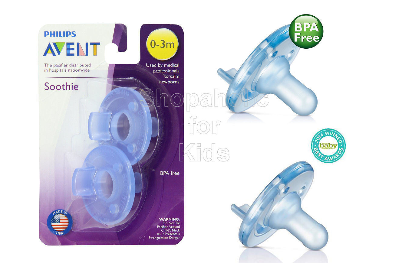PHILIPS AVENT BABY SOOTHIE PACIFIER 3 MONTHS BLUE 2 PACK BPA FREE MADE IN USA