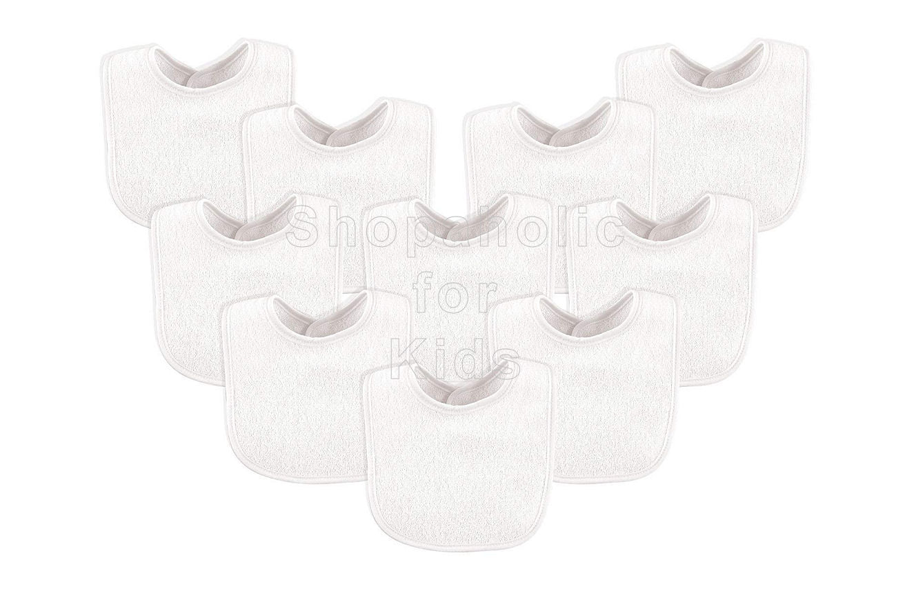 Luvable Friends Drooler Bibs, White (Pack of 10) - Shopaholic for Kids
