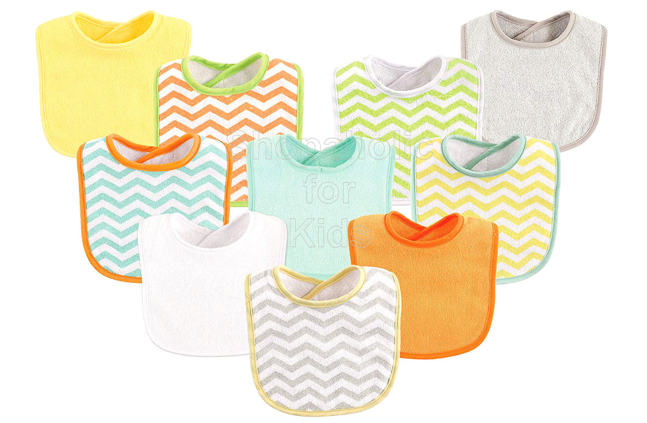 Luvable Friends Chevron and Solids Baby Bibs, Pack of 10