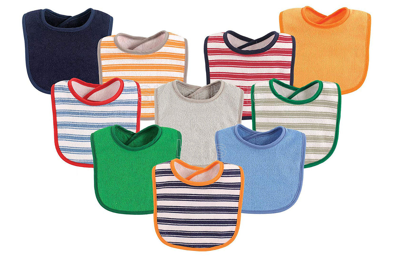 Luvable Friends Striped and Solids Baby Bibs, Pack of 10