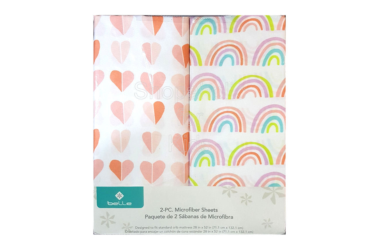 Belle 2 Piece Microfiber Sheets - Hearts & Rainbows - Shopaholic for Kids