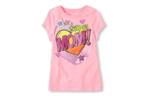 Children's Place Super Mom Graphic Tee - Lt Sugar