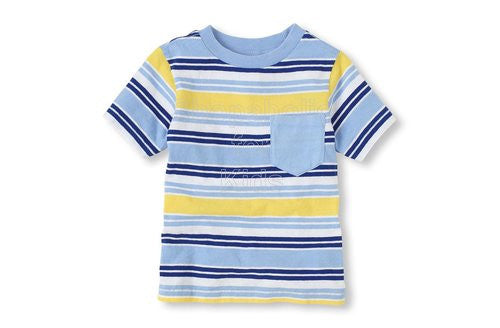 Children's Place Striped Pocket Tee - Finch - Shopaholic for Kids