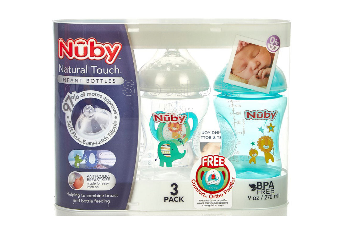 Nuby Natural Touch Baby Bottle 9oz - Pack of 3 (Free Comfort Ortho Pacifier) Set A
