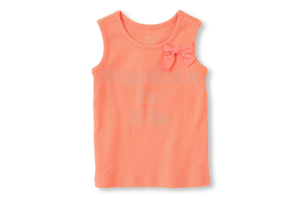 Children's Place Ribbed Bow Tank - Neon Sherbet - Shopaholic for Kids