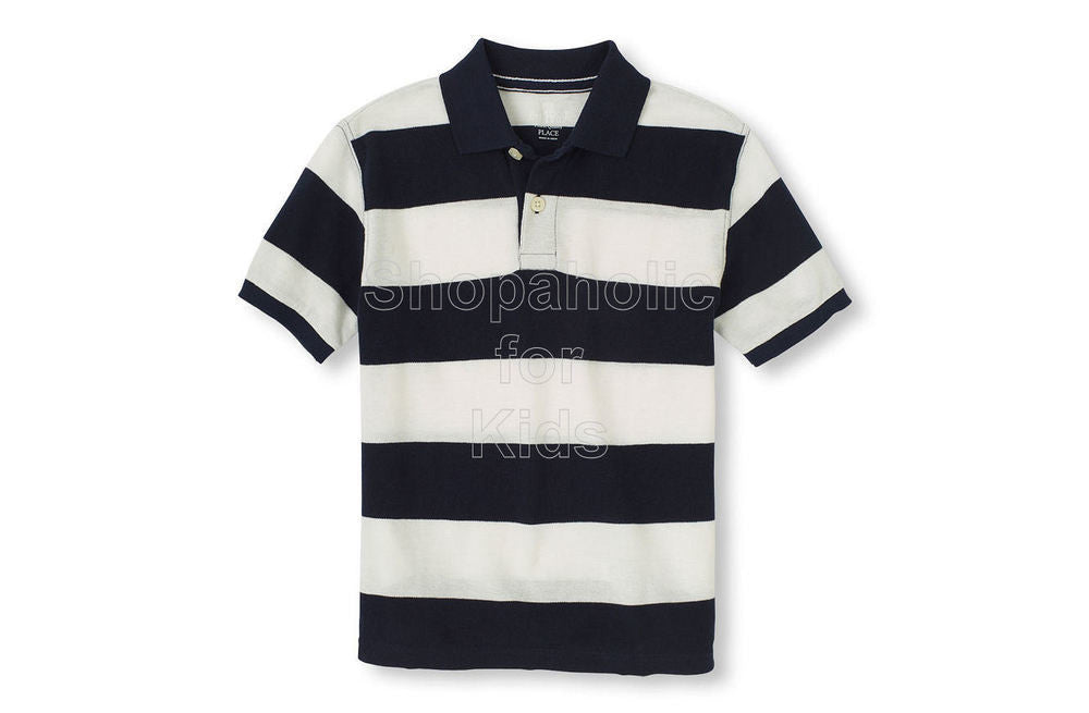 Children's Place Short Sleeve Rugby Stripes Polo - Tidal - Shopaholic for Kids