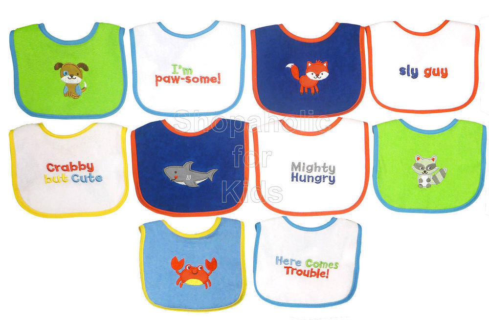 Knit Terry 10-Pack Bibs for Baby Boy - Shopaholic for Kids