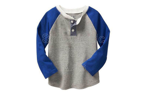 Old Navy Factory Colorblock Raglan Henley - Light Heather