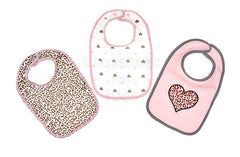 Baby Kiss Cheetah Heart Bibs - Pack of 3