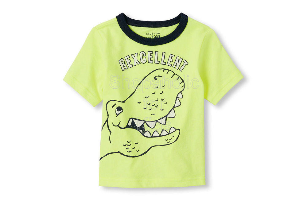 Children's Place Dino Graphic Neon Tee - Shopaholic for Kids