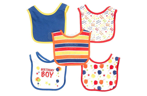 Cutie Pie Birthday Bibs for Boys, Pack of 5