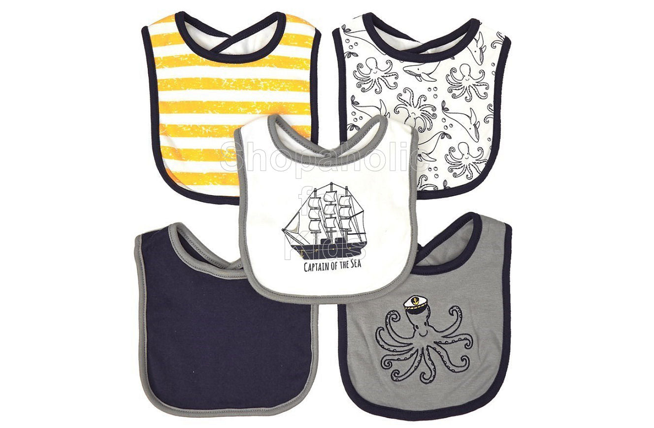 Hudson Baby 5-pack Octopus Bibs - Shopaholic for Kids