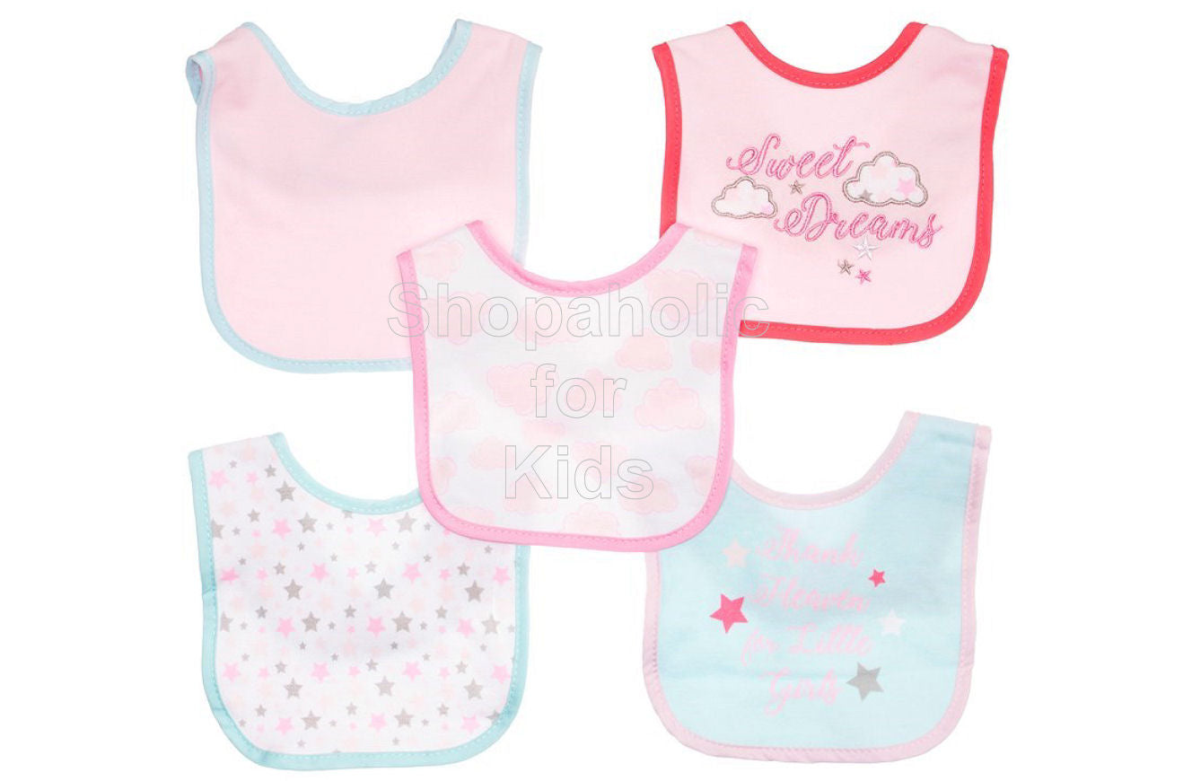 Cutie Pie Sweet Dreams Drool Bibs, 5-Pack - Shopaholic for Kids